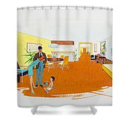 1950's Motel Room Retro Artwork Shower Curtain