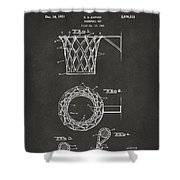1951 Basketball Net Patent Artwork - Gray Shower Curtain