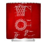 1951 Basketball Net Patent Artwork - Red Shower Curtain by Nikki Marie Smith