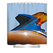 1952 Pontiac Tin Woodie Wagon Hood Ornament 2 Shower Curtain