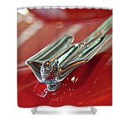 1953 Cadillac Eldorado Convertible Hood Ornament Shower Curtain