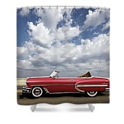 1953 Chevy Bel Air Convertible, Mixed Media, Louis Vuitton Steamer Trunk  Shower Curtain