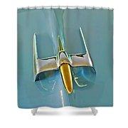 1953 Lincoln Capri Hood Ornament Shower Curtain