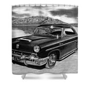1953 Mercury Monterey On Bonneville Shower Curtain by Peter Piatt