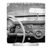 1954 Chevrolet Corvette Steering Wheel -368bw Shower Curtain