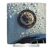 1954 Jaguar Xk120 Roadster Hood Emblem Shower Curtain