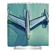 1954 Oldsmobile Super 88 Hood Ornament 2 Shower Curtain by Jill Reger
