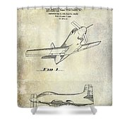1955  Airplane Patent Drawing Shower Curtain