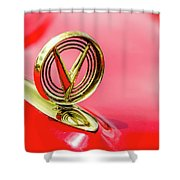 1955 Buick Roadmaster Hood Ornament Shower Curtain