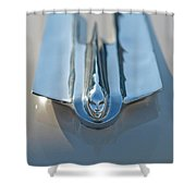 1955 Cadillac Coupe Hood Ornament Shower Curtain