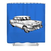 1955 Chevrolet Bel Air Illustration Shower Curtain
