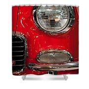 1955 Chevy Bel Air Headlight Shower Curtain by Sebastian Musial