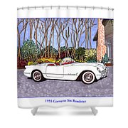 1955 Corvette Six Roadster Shower Curtain