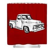 1955 F100 Ford Pickup Truck Illustration Shower Curtain