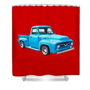 1955 Ford F100 Blue Pickup Truck Canvas Shower Curtain