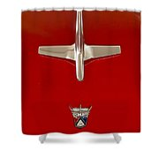 1955 Ford Fairlane Sunliner Convertible Hood Ornament Shower Curtain