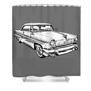 1955 Lincoln Capri Luxury Car Illustration Shower Curtain