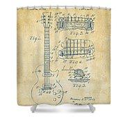 1955 Mccarty Gibson Les Paul Guitar Patent Artwork Vintage Shower Curtain