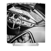 1955 Mercedes-benz 300sl Gullwing Steering Wheel - Race Car -0329bw Shower Curtain