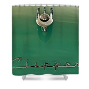 1955 Packard Clipper Hood Ornament 2 Shower Curtain