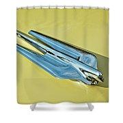 1956 Cadillac Sedan Deville Hood Ornament 2 Shower Curtain by Jill Reger