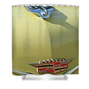 1956 Cadillac Sedan Deville Hood Ornament Shower Curtain