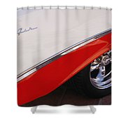 1956 Chevrolet Belair Convertible Wheel Shower Curtain