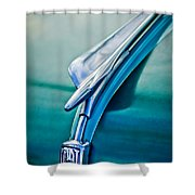 1956 Fiat Hood Ornament 2 Shower Curtain by Jill Reger