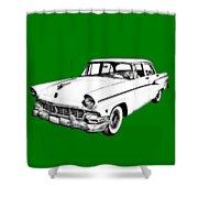 1956 Ford Custom Line Antique Car Illustration Shower Curtain
