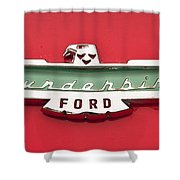 1956 Ford Thunderbird Emblem Shower Curtain