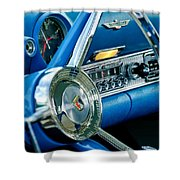 1956 Ford Thunderbird Steering Wheel And Emblem Shower Curtain