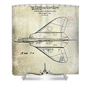 1956 Jet Airplane Patent 2 Blue Shower Curtain