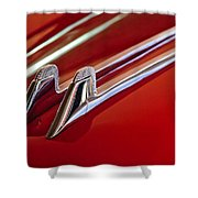1957 Cadillac Eldorado Biarritz Hood Ornament Shower Curtain