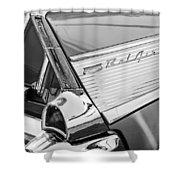 1957 Chevrolet Bel Air Tail Light Emblem -0140bw Shower Curtain