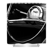1957 Chevrolet Belair Steering Wheel Black And White Shower Curtain