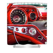 1957 Chevy Bel Air Stering Wheel  Shower Curtain