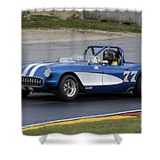 1957 Chevy Corvette At Road America Shower Curtain