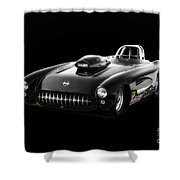 1957 Corvette Drag Car Shower Curtain