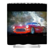 1957 Corvette Hot Rod Shower Curtain