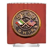 1957 Dual Ghia Convertible Coupe Emblem Shower Curtain