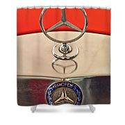 1957 Mercedes-benz 220 S Hood Ornament Shower Curtain