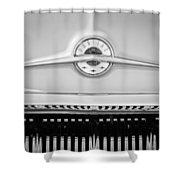 1957 Pontiac Safari Emblem -0737bw Shower Curtain