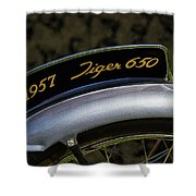 1957 Triumph Tiger 650 License Plate Shower Curtain