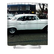 1957 White Chevy Shower Curtain
