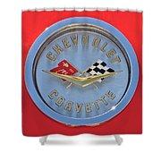 1958 Chevrolet Corvette Emblem Shower Curtain