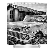 1958 Chevy Del Ray In Black And White Shower Curtain