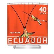1958 Ecuador Hummingbirds Postage Stamp Shower Curtain
