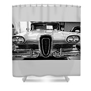 1958 Edsel Pacer Black And White Shower Curtain