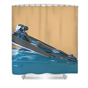 1958 Nash Metropolitan Hood Ornament Shower Curtain