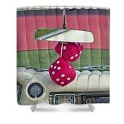 1959 Cadillac Eldorado Fuzzy Dice Shower Curtain